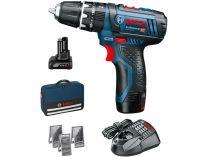 Bosch GSR 12V-15 Professional - 1x12V/2.0Ah + 1x12V/4.0Ah + taška + sady bitů, vrtáků do dřeva, kovu