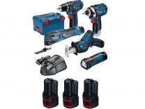 Sada aku nářadí Bosch GSA 12V-14 + GSR 12V-15 + GOP 12V-28 + GDR 12V-105 + GLI 12V-300 + 3x12V/2.0Ah
