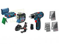 Sada aku nářadí Bosch GLL 3-80 CG + GSR 12V-15 Professional + 39-dílná sada příslušenství + kufry