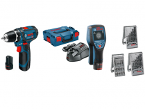 Sada aku nářadí Bosch D-tect 120 + GSR 12V-15 Professional + 39-dílná sada příslušenství + kufry