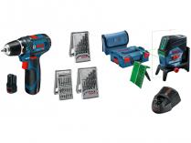 Sada aku nářadí Bosch GCL 2-50 CG + GSR 12V-15 Professional + 39-dílná sada příslušenství + kufry