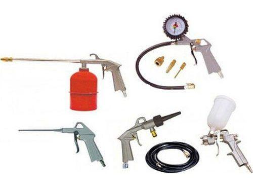 STANLEY 9045718STN 9-dílná sada nářadí - dlouhá vyfukovací pistole, gravimetrická stříkací pistole 1/2l, sprejová umývací pistole, hustící pistole se 3 nástavci, vzduchové/dodní umývání, hadice 5m