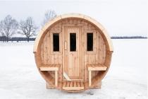 Estonská venkovní SUDOVÁ SAUNA 250 - délka 250cm, Ø205cm, 680kg (134230-H) Hanscraft