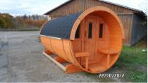 Estonská venkovní SUDOVÁ SAUNA 400 Thermowood - délka 400cm, Ø205cm, 1020kg (134261-H) Hanscraft