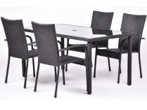 Creador Catalina 4+ sestava nábytku kov+ratan (1x stůl Wicke 150 + 4x stoh. židle Amélie)