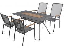 MWH Masao 4+ sestava nábytku z tahokovu (4x stoh. židle Masao, 1x stůl Tavio 160)