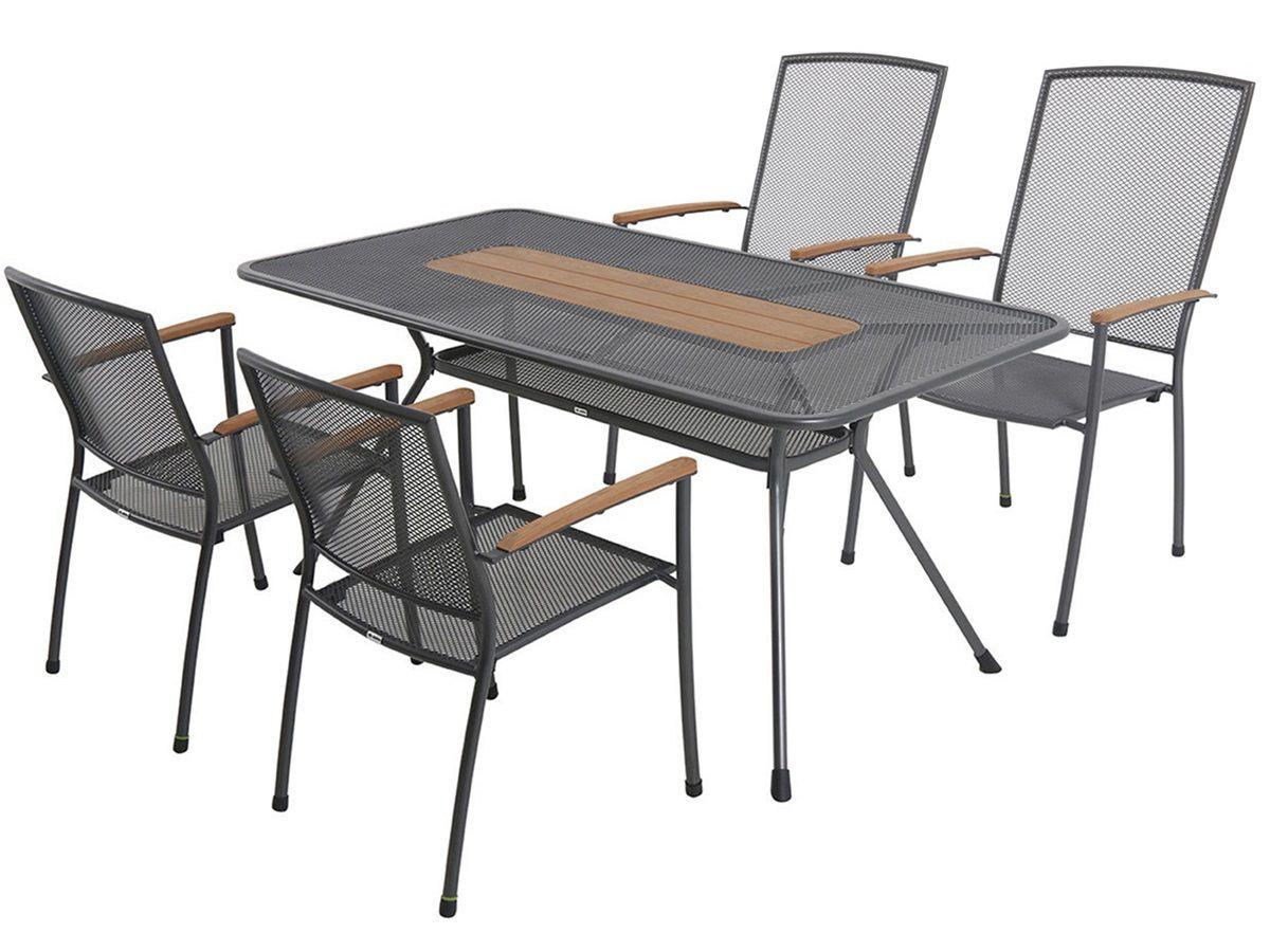 MWH Masao 4+ sestava nábytku z tahokovu (4x stoh. židle Masao, 1x stůl Tavio 160), kód: Masao4