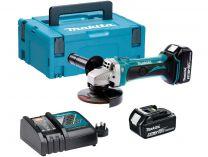 Makita DGA452RTJ - 115mm, 2x 18V/5.0Ah, ochrana článků, kufr Systainer Makpac
