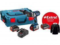 Bosch GSB 18 VE-EC Professional - 2x 18V/5.0Ah, 75Nm, kufr, bezuhl. aku vrtačka s příklepem + DÁRKY