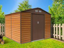 Plechový zahradní domek G21 GAH 529 - 277x191cm, hnědý, 80kg