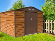 Plechový zahradní domek G21 GAH 706 - 277x255cm, hnědý, 105kg