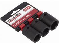 """3-dílná sada nástrčných klíčů Kreator KRT095100 - 17-19-21mm 1/2"""", pro rázové utahováky"""