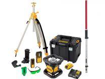 Aku rotační laser DeWalt DCK379D1G-QW - 18V/2.0Ah Li-ion, sada rotačního laseru DCE074 se stativem