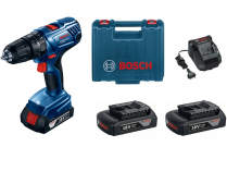 Bosch GSB 180-LI Professional - 3x 18V/1.5Ah, 54Nm, 2 rychl., 1.7kg, kufr, aku vrtačka s příklepem
