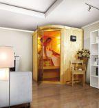 Finská sauna KaribuSaunový set Asmada + 8 kW kamna s integrovaným ovládáním