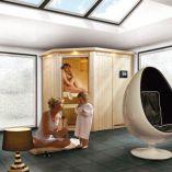 Finská sauna SET Karibu Carin + 9 kW Bio kamna s externím ovládáním