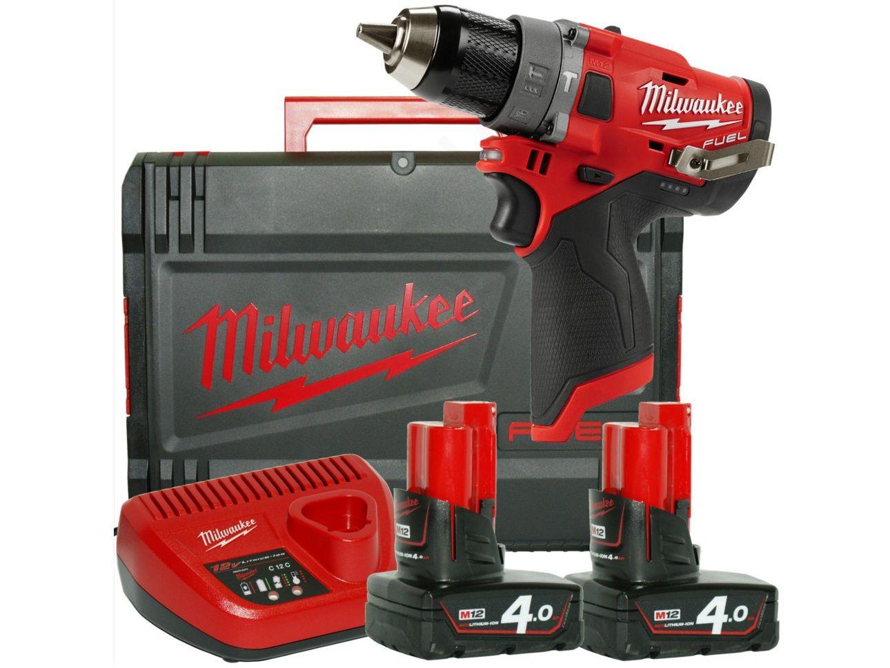 Bezuhlíková aku vrtačka s příklepem Milwaukee M12 FPD-402X - 2x aku 12V/4.0Ah, 44Nm, 2rychl., 1.5kg, v kurfu (4933459804)