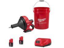 Aku čistič potrubí Milwaukee M12 BDC8-202C - 2x 12V/2.0Ah, spirála 8mm, 4.8kg