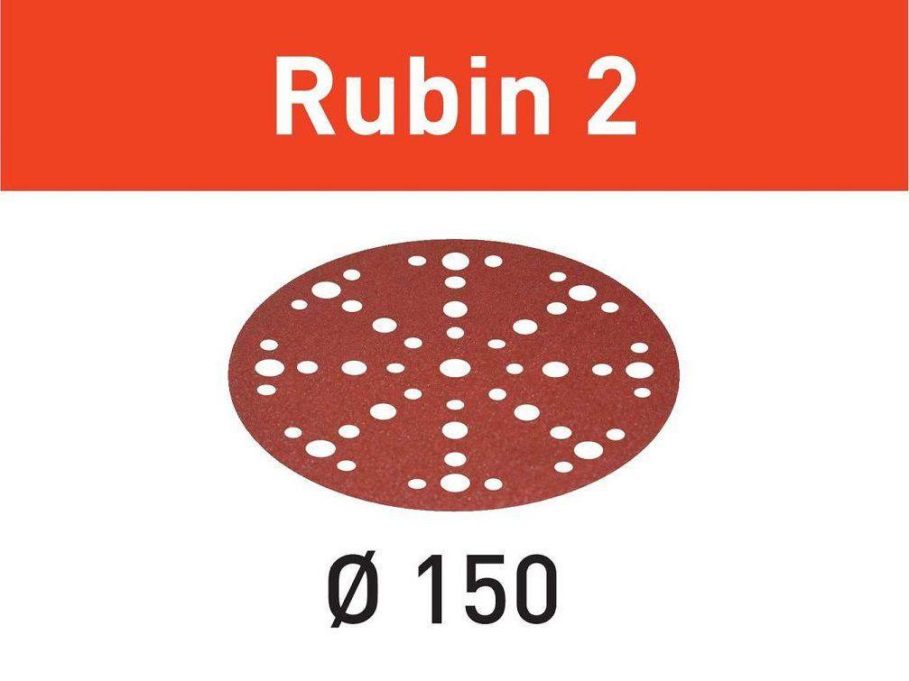 Brusný kotouč pro brusky Festool RO 150, ES 150, ETS 150, ETS EC 150, LEX 150, WTS 150, HSK-D 150 - 150mm, zrnitost P100, 10ks (Festool STF D150/48 P100 RU2/10 Rubin 2), kód: 575181