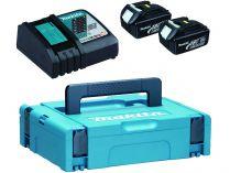 Sada Makita 197952-5: 2x aku BL1830B Li-ion 18V/3.0Ah + dvojnabíječka DC18RD + kufr Systainer