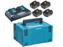 Sada Makita 198091-4: 4x aku BL1860B Li-ion 18V/6.0Ah + dvojnabíječka DC18RD + kufr Systainer