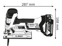 Aku přímočará pila Bosch GST 18 V-LI S Professional - 2x aku 18V/5.0Ah, 2.6kg, v kufru + DÁREK: 5-dílná sada plátků do kmitací pily, aku přímočará pila (06015A5106) Bosch PROFI