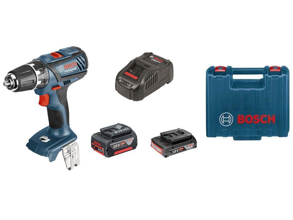 Aku vrtačka bez příklepu Bosch GSR 18-2-LI Plus Professional - 1x aku 18V/2Ah + 1x aku 18V/5.0Ah, 63Nm, 1.1kg, v kufru (06019E6122) Bosch PROFI