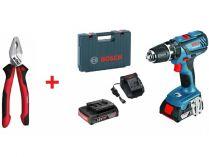 Bosch GSB 18-2-LI Plus Professional - 2x 18V/2.0Ah, 64Nm, kufr, aku vrtačka s příklepem + DÁREK