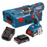 Aku vrtačka s příklepem Bosch GSB 18-2-LI Plus Professional - 2x 18V/2.0Ah, 2 rychl., 64Nm, 1.54kg, v kufru + DÁREK: Kombinované kleště Wiha (0615990K2R) Bosch PROFI
