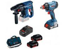 Sada aku nářadí Bosch Professional: GDX 180-LI + GBH 180-LI + 2x aku 18V/4.0Ah + brašna