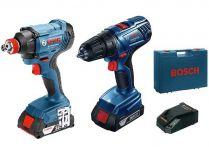 Sada aku nářadí Bosch Professional: GDX 180-LI + GSR 180-LI + 2x aku 18V/1.5Ah + kufr