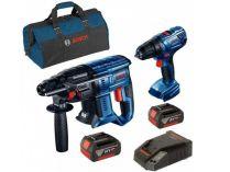 Sada aku nářadí Bosch Professional: GSR 180-LI + GBH 180-LI + 2x aku 18V/4.0Ah + brašna
