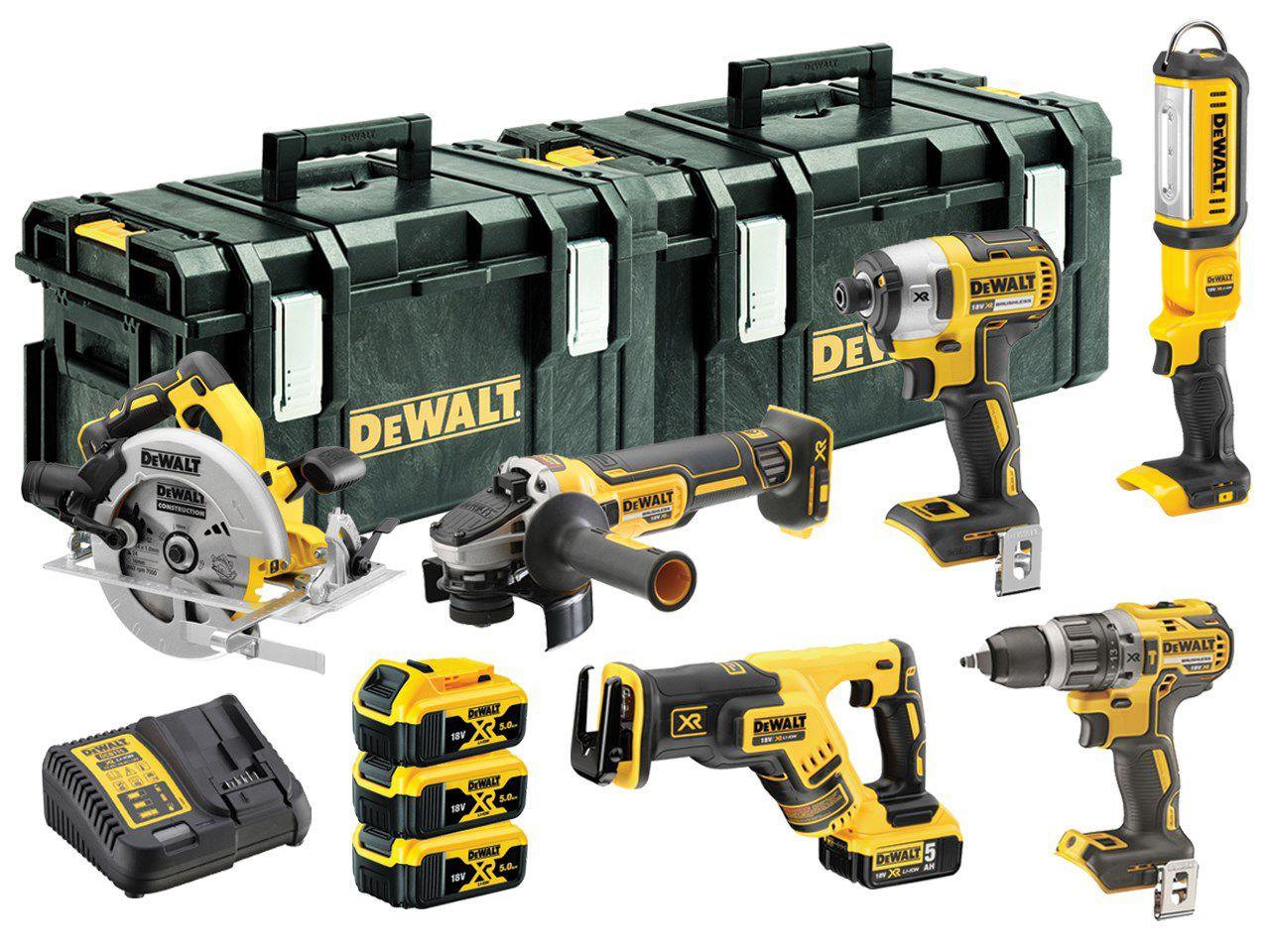 Sada aku nářadí DeWALT DDCK623P3-QW: DCD796 + DCG405 + DCF887 + DCS570 + DCS367 + 3x aku 18V/5.0Ah