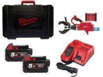 Milwaukee M18 HCC75R-502C bezuhlíkové aku hydraulické kleště na kabely - 2x 18V/5.0Ah, 77.8kN, 7.9kg
