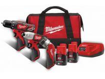 Sada aku nářadí Milwaukee M12 BPP3A-202B: M12 BDD + M12 BID + M12 TLED + 2x aku 12V/2.0Ah + taška