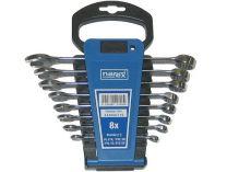 """8 dílná sada očkoplochých klíčů Narex DIN 3113 inch palcových - 1/4-5/8"""", plastový držák"""
