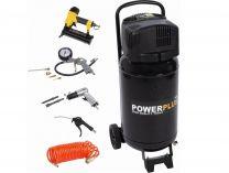 Bezolejový kompresor PowerPlus POWX1751 - 8bar, 180L/min, 1100W, 50L, 9ks příslušenství