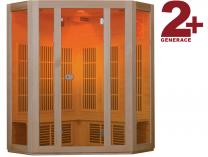 Rohová infrasauna Hanscraft VALENCIA 2+ pro 3 osoby, podlahový zářič, Bluetooth Sound Systém, LED barevná chromoterapie (130052)