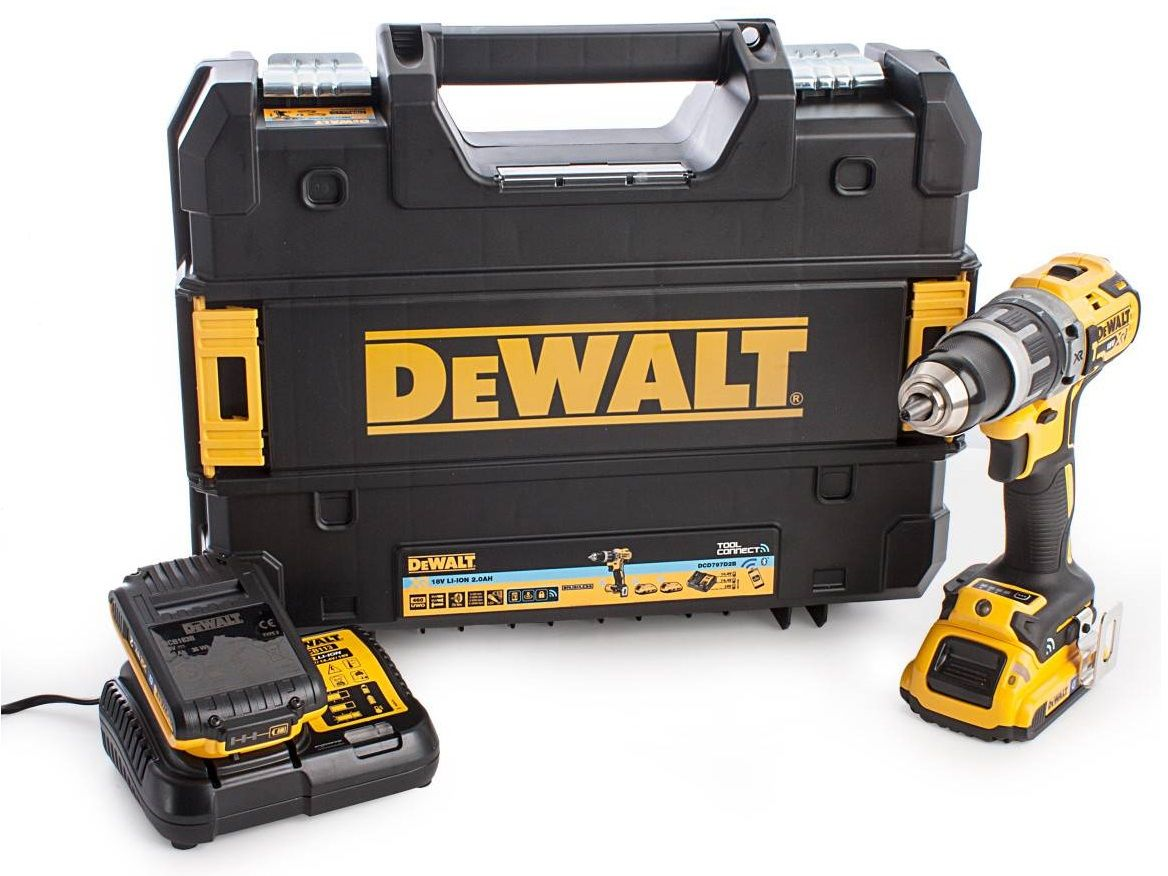 Bezuhlíková aku vrtačka s příklepem DeWALT DCD797D2B-QW - 2x aku 18V/5.0Ah, 70Nm, 1.77kg, v kufru