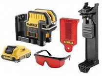 DeWALT DCE0822D1R-QW - 1x 10.8V/2.0Ah, 20m, brýle, držák na zeď, profi křížový laser