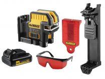DeWALT DCE0822LR-XJ - 1x adaptér na 4xAA baterie, 20m, brýle, držák na zeď, profi křížový laser