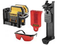 DeWALT DCE0825LR-XJ - 1x adaptér na 4xAA baterie, 20m, brýle, držák na zeď, profi křížový laser