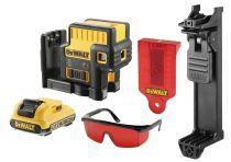 DeWALT DCE085D1R-QW - 1x 10.8V/2.0Ah, 45m, brýle, držák na zeď, profi křížový laser