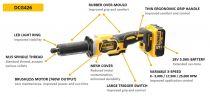 Bezuhlíková aku přímá bruska DeWALT DCG426N-XJ - 18V, 25000 ot./min, 1.19kg, bez akumulátoru a nabíječky