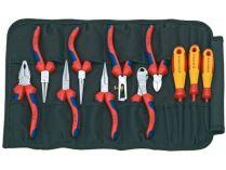11-dílná nářadí pro elektrotechniky KNIPEX - svinovací taška, 8x kleště a 3x šroubovák