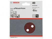 5x Brusný papír do excentrické brusky Bosch C430 - 115mm, zr.40, 8 otvorů, suchý zip