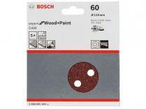 5x Brusný papír do excentrické brusky Bosch C430 - 115mm, zr.60, 8 otvorů, suchý zip