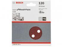 5x Brusný kotouč do excentrické brusky Bosch C430 - 115mm, zr.120, 8 otvorů, suchý zip