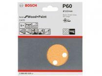 5x Brusný papír do excentrické brusky Bosch C470 - 115mm, zr.60, 8 otvorů, suchý zip