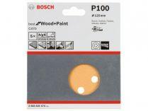 5x Brusný papír do excentrické brusky Bosch C470 - 125mm, zr.100, 8 otvorů, suchý zip